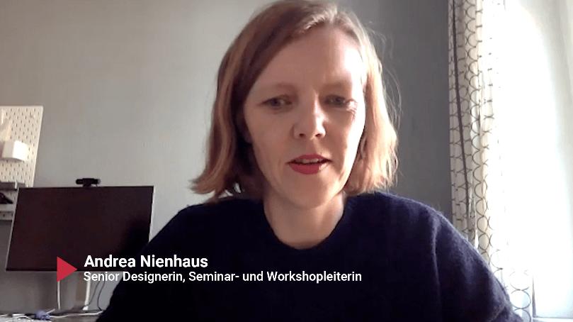Screenshot Andrea Nienhaus auf Stifter TV